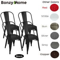 Set of 4 Metal Dining Chairs Glossy Stackable Side Chairs Heavy Duty Iron Frame