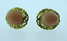 18K YELLOW GOLD LADIES PEACH CORAL EARRINGS
