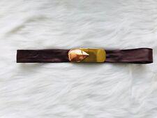 Vtg Reynold Mejer Burgundy Leather Belt Copper Brass Buckle Metal Petals Studio