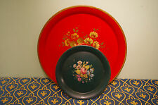 FRENCH ANTIQUE  ROUND GREEN TOLE TRAY HAND PAINTED ROSES GREAT CONDITION