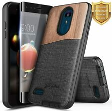 For LG Risio 3/Fortune 2/Zone 4 Shockproof Wood Phone Case Cover +Tempered Glass