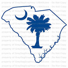 State of South Carolina Outline with  Palmetto and  Moon Vinyl Decal Sticker