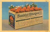 Linen Postcard CA L043 Cancel 1946 Sunkist Oranges The Box I Promised You