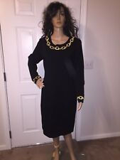 VTG 80'S SIZE 10 BLACK KNIT STRETCHY GOLD METALLIC CHAIN DRESS CAREER PARTY