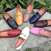 Women Lady HORSEBIT Loafers Bee Shoes Slip On Leather Flats Casual Shoes Fashion