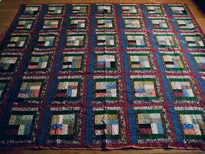 "NEW Handmade postage stamp Pattern Quilt 101"" x 90"""