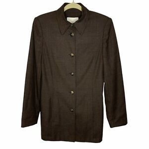 Escada Margaretha Ley Blazer Size 34 US 4 Wool Brown Pockets Collared Buttons