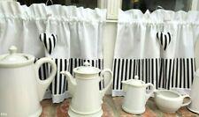 Scheibengardine Bistrogardine Landhaus Shabby Chic Modern Streifen weiß schwarz