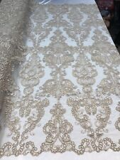 Taupe French Corded Design-embroider With Sequins Mesh Lace Fabric By Yard