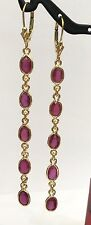 14k Solid Yellow Gold Leverback Cluster Long Dangle Earrings, Natural Ruby 2TCW