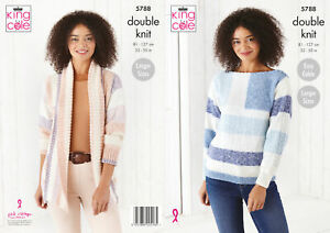 King Cole Ladies DK Knitting Pattern Ribbed Jacket & Easy Cable Sweater 5788