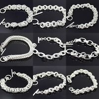 NEW CHUNKY 925 STERLING SILVER ADJUSTABLE LINK BRACELET CHAIN EYE HOOK FASHION