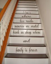 Stairs Vinyl Decal Quote Family Stairway Decor Home Stair Riser Decals Art kk484