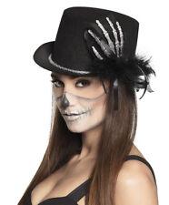 Ladies Adult Black Top Hat & Skeleton Hand Halloween Voodoo Gothic Steampunk NEW