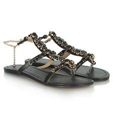 NEW Forever Unique Calipso Black Crystal Embellished Gem Flip Flop Sandal Shoe 6