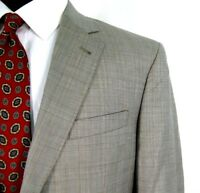Jos A Bank Blazer Tan All Season Plaid Sport Coat Jacket Sz 42L (w/ 42R Sleeves)