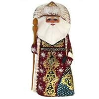 Santa Claus Figurine Wooden Russian Hand Painted Carved Father Frost Christmas D