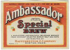 1920's Ambassador Special Brew L# Label - Boston, MA