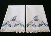 2 PillowCase Hand Embroidered Crochet Southern Belle Cotton Sateen Standard New