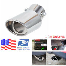 Car Universal Round Silver Stainless Steel Chrome Exhaust Tail Muffler Pipe Tip