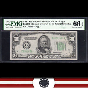1934 $50 CHICAGO FRN Federal Reserve Note  PMG 66 EPQ  Fr 2102-Gdgs G06951421A