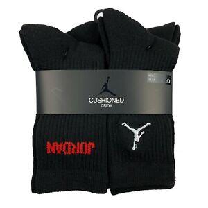 Nike Jordan Boys Crew Socks 6 Pair Kids 3Y-5Y Black