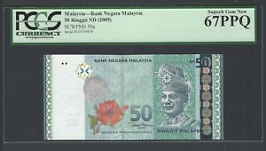 Malaysia 50 Ringgit ND(2009) P50a Uncirculated Graded 67