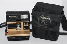 Polaroid 600 Instant Film 50th Anniversary Sun 600 SE Gold Camera w/ Bag Case