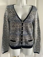 Odd Molly Incorporated Cardigan SMALL 100% Cotton Navy Blue Knit V-Neck