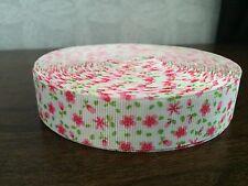 1m Bianco Rosa Verde Shabby Chic Vintage Ditsy Stampa Floreale 22mm GROS Grain Nastro