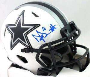 Dak Prescott Autographed Dallas Cowboys Lunar Speed Mini Helmet- Beckett W *Blue
