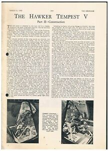 ARTICLE FROM THE AEROPLANE MARCH 1945 THE HAWKER TEMPEST V includes cutaway