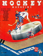 EX COND 1/22/1939 NY Rangers vs Montreal Canadiens NHL Program 8 Hall of Famers