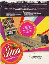 El Grande Shuffle Alley Flyer 1970 United Arcade Game Promo Artwork Damaged