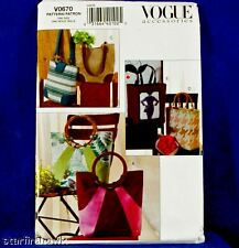 VOGUE Accessories #V0670 Totes Pattern 5 Designs to sew
