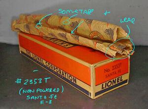 Lionel Postwar RARE ORIGINAL BOX & LINER & WRAP for the #2353 SANTA-FE F-3 T