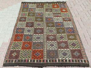 "5x7 Rug, Vintage Turkish Kilim Rug, Area Rug, Carpet, Wool Rug, Teppiche 53""x74"""