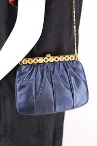 lizard JUDITH LEIBER metallic blue jeweled clutch bag vintage Karung 1980s chain