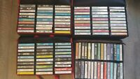 Lot of 120 Cassette Tapes with cases-Elvis, gospel, oldies, pop, rock, christmas
