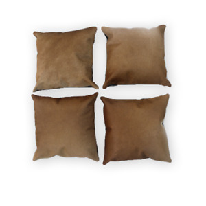 Genuine Set of 4 Cowhide Pillow Cases Light Brown Leather Cushion Cover Cow Rug