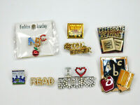Lot of 8 Lapel Pins Teaching Education Reading Books School Library Related Vtg
