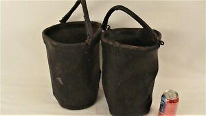 Antique Pair Primitive Leather Fire Buckets W/ Handles