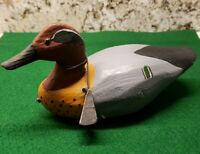 Hand Carved Green Wing Teal Drake Rigged Duck Decoy signed A. A. Waterfield