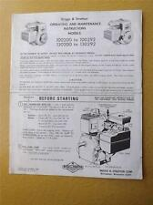 BRIGGS & STRATTON MOTOR OPERATING MAINTENANCE MANUAL 4 CYCLE AIR COOLED L HEAD