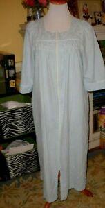 Miss Elaine Zip Front Blue Smocked Seersucker Long Robe or Patio Dress M