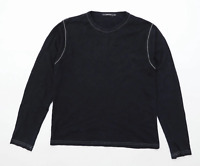 River Island Mens Size M Cotton Black Long Sleeve T-Shirt