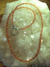 Rärität Padparadscha Saphir Kette orange, facettiert 45cm seltener Heilstein