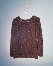 Ann Taylor Womens Sweater Size Medium Long Sleeve Black White Knit Pullover