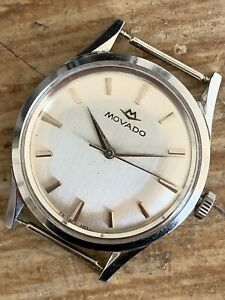 Movado Steel Case 35mm Twisted Lugs Vintage Watch For Parts Repairs Spares