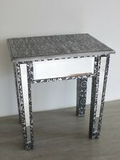 Black Embossed Metal & Mirrored Glass Bedside Side End Coffee Lamp Console Table